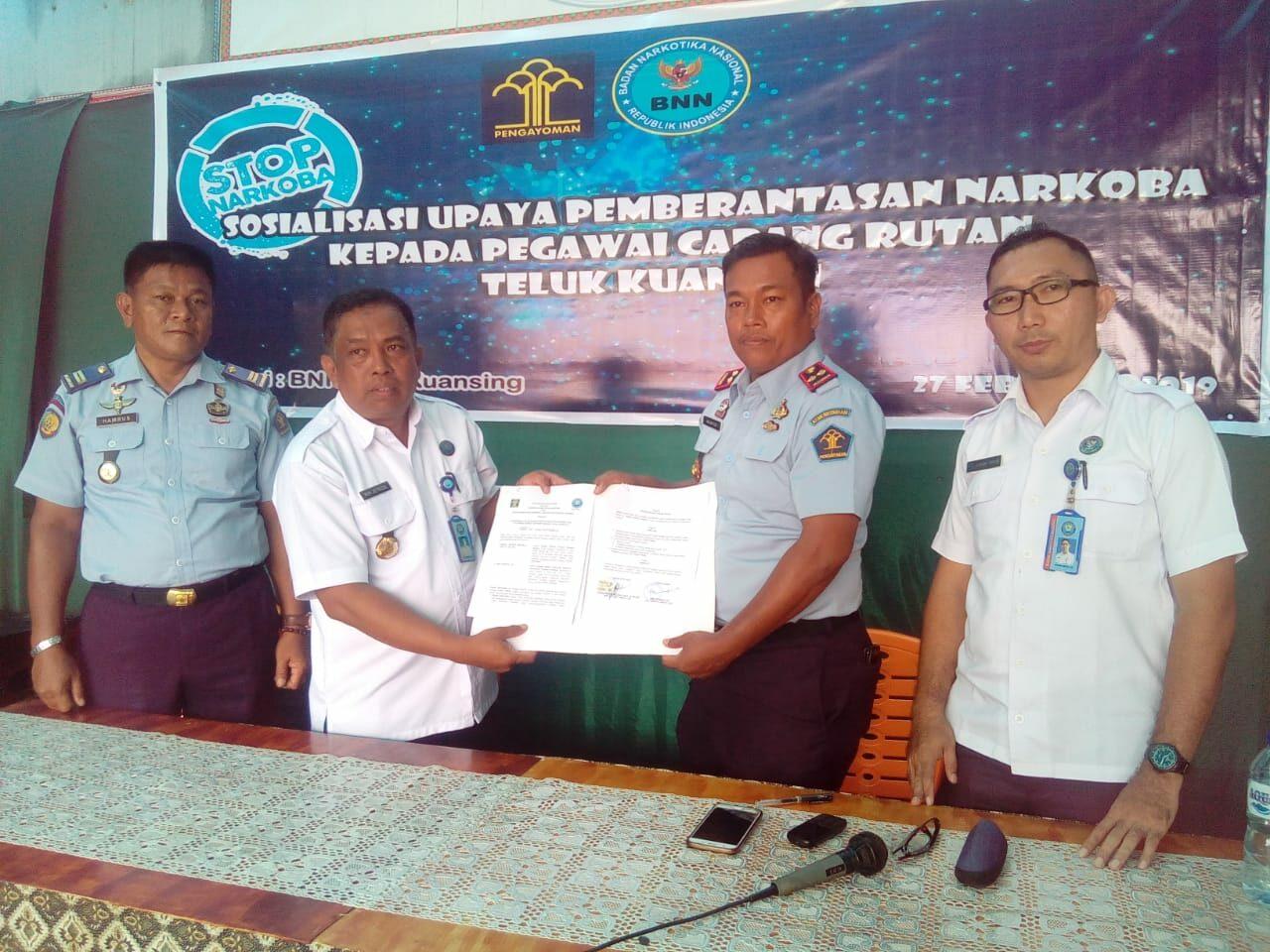 Sosialisasi P4GN dan MoU BNNK Kuansing dengan Cabang Rutan Teluk Kuantan