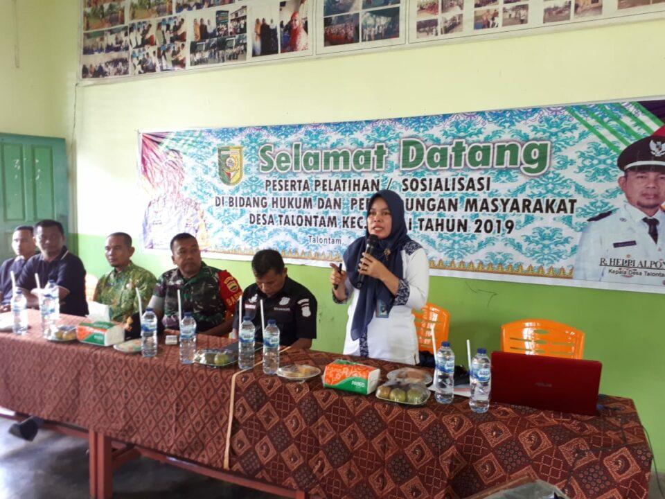 Pelatihan / Sosialisasi di Bidang Hukum dan Perlindungan Masyarakat di Desa Talontam Kecamatan Benai (12/12/2019)
